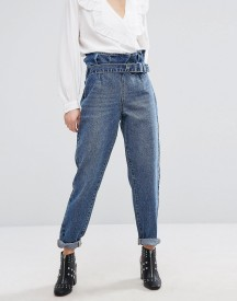 Lost Ink Mom Jeans With Paper Bag Waist afbeelding
