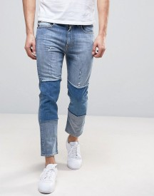 Love Moschino Cropped Slim Fit Jeans With Knee Patches And Back Waist Tab afbeelding