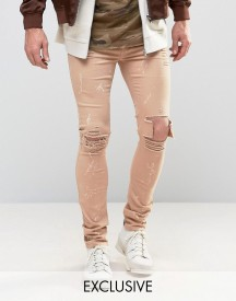 Mennace Skinny Jeans With Paint Splat In Tan afbeelding