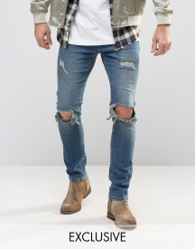 Mennace Slim Jeans With Rips In Mid Wash afbeelding