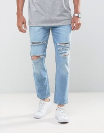 Mennace Tapered Crop Jean With Extreme Rips In Light Blue afbeelding