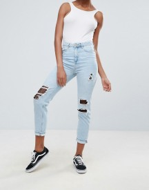 New Look Fishnet Detail Mom Jeans afbeelding