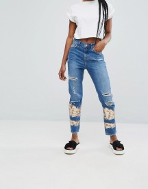 New Look Foil Print Slashed Mom Jeans afbeelding
