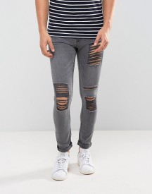 New Look Skinny Jeans With Extreme Rips In Grey Wash afbeelding