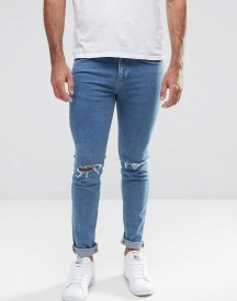 New Look Skinny Jeans With Knee Rips In Blue Wash afbeelding