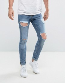 New Look Skinny Jeans With Open Rips In Blue afbeelding