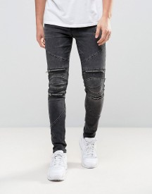New Look Super Skinny Biker Jeans With Abrasions In Black afbeelding