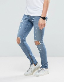 New Look Super Skinny Jeans With Rips And Side Zips In Spray Acid Wash afbeelding