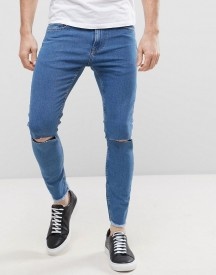 Only & Sons Jeans In Skinny Fit With Rip Knee And Cropped Raw Hem afbeelding