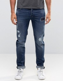 Only & Sons Mid Blue Jeans With Rip Repair Detail In Slim Fit afbeelding