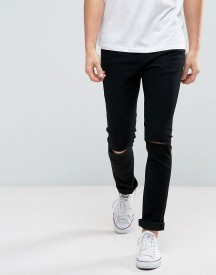 Only & Sons Skinny Black Jeans With Knee Rip afbeelding
