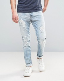 Only & Sons Slim Fit Jeans In Light Denim Heavy Rip Detail afbeelding