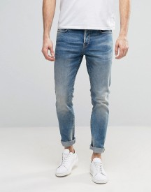 Only & Sons Slim Fit Stretch Heavy Wash Jeans In Light Blue afbeelding