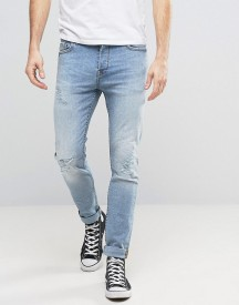 Only & Sons Slim Fit Stretch Jeans With Abrasion In Light Blue Wash afbeelding