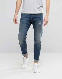 Only & Sons Straight Fit Jeans With Abrasion In Medium Blue Wash afbeelding