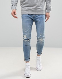 Pull&bear Carrot Fit Jeans With Rips In Light Wash afbeelding