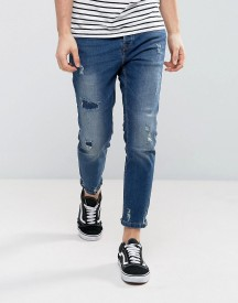 Pull&bear Slim Jeans With Rips In Dark Blue afbeelding