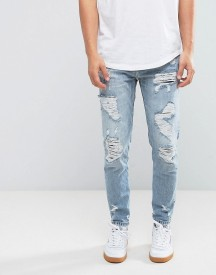 Pull&bear Slim Ripped Jeans In Mid Wash afbeelding