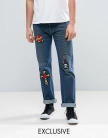 Reclaimed Vintage Revived X Romeo & Juliet Levi 501 Jeans In Blue With Patches afbeelding