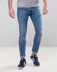 Redefined Rebel Slim Jeans With Distressing In Mid Wash Blue afbeelding