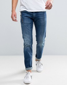 Replay Anbass Slim Stretch Jean Zip Pocket Detail Dark Wash afbeelding