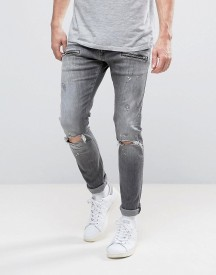 Replay Jondrill Skinny Fit Jeans Grey Ripped Knee Paint Splat afbeelding