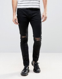 Rollas Thin Captain Slim Fit Jeans Black Knee Rip afbeelding