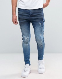 Siksilk Cargo Jeans In Blue afbeelding