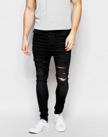 Siksilk Drop Crotch Skinny Jeans With Distressing afbeelding