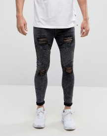 Siksilk Super Skinny Biker Jeans With Distressing afbeelding