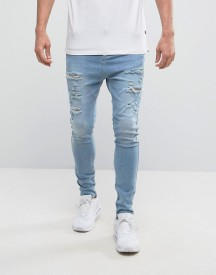 Siksilk Super Skinny Jeans In Light Wash With Distressing And Zips afbeelding