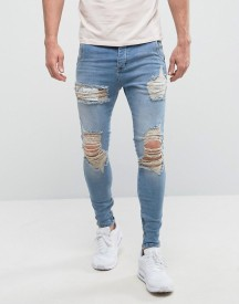 Siksilk Super Skinny Low Rise Jeans In Light Wash With Distressing afbeelding