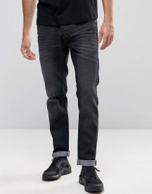 Solid Jeans In Slim Fit Washed Black Denim With Stretch afbeelding