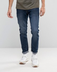 Solid Jeans In Slim Fit Washed Dark Blue Denim With Stretch afbeelding