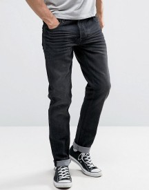 Solid Slim Fit Jeans In Washed Black With Stretch afbeelding