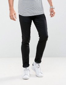 Solid Skinny Jeans In Washed Black With Stretch afbeelding