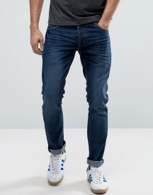 Solid Slim Fit Jeans In Dark Blue Wash With Stretch afbeelding