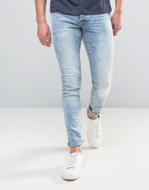 Solid Slim Fit Jeans In Light Blue Wash With Stretch afbeelding