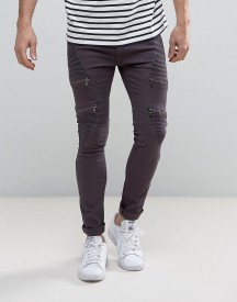 Soul Star Skinny Biker Jeans With Multi Zip afbeelding