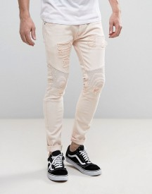 Soul Star Skinny Rip And Repair Biker Jeans afbeelding