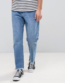 Zeffer Skater Fit Jeans In Mid Indigo Wash With Unrolled Hems afbeelding