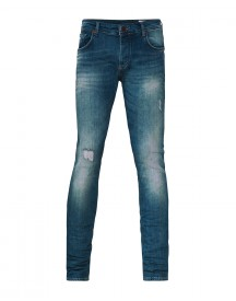 Heren Slim Tapered Comfort Stretch Damaged Jeans afbeelding