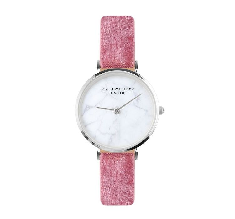 Image Velvet Marble Watch - Pink - Gold/silver/rose