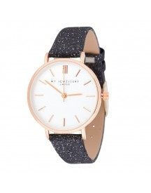 My Jewellery Limited Watch Small 2.0 - Black Glitter/rosegold afbeelding