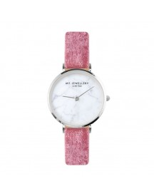 Velvet Marble Watch - Pink - Gold/silver/rose afbeelding