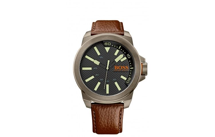 Image Hugo Boss Horlogeband Hb-238-1-34-2757 / 1513168 / Orange Leder Bruin 24mm + Bruin Stiksel