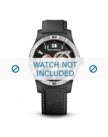 Hugo Boss Horlogeband Orange 1512536 / 659302249 2249 / Hb.110.1.29.2252 Canvas Zwart 22mm + Grijs Stiksel afbeelding