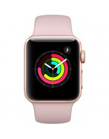 Apple Watch Series 3 42mm Goud Aluminium/roze Sportband afbeelding