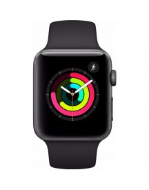 Apple Watch Series 3 42mm Space Grey Aluminium/zwarte Sportband afbeelding
