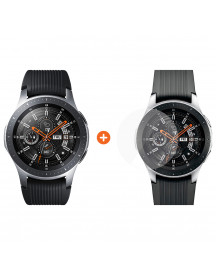Samsung Galaxy Watch 46mm Silver + Panzerglass Screenprotector Glas afbeelding